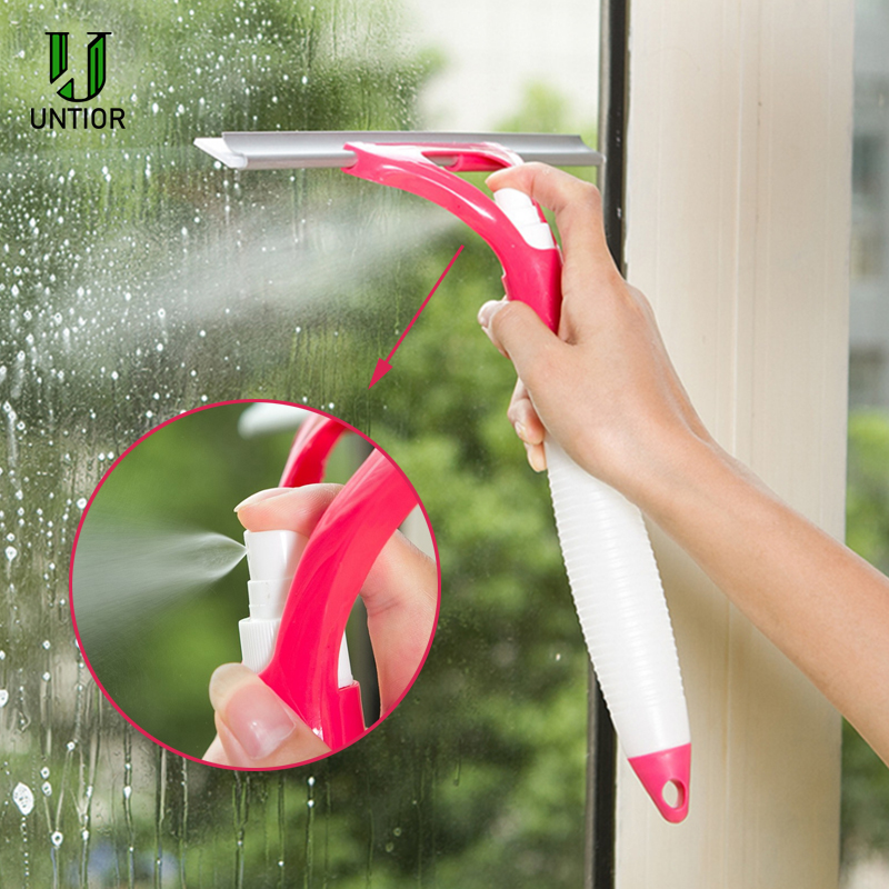 UNTIOR Silicone Window Cleaning Brush Multifunction Squeegee Spray Intergrated Type Brushes Portable Handle Window Cleaner Tools