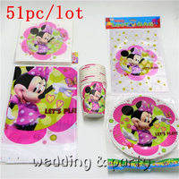 51pcs Lot Theme Minnie Mouse Gift Bags Tablecloth Decoration Napkins Happy Birthday Party Cups Baby Shower