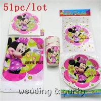 51pcs \ porción Tema Minnie Mouse Bolsas de Regalo Decoración Mantel Servilletas Tazas Del Partido Del Feliz Cumpleaños Del Bebé Ducha Corona Placas Suministros