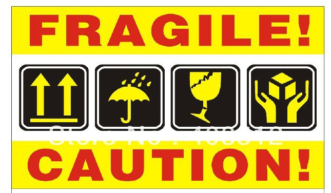 sell stock 500pcs/lot fragile caution sticker shipping warning labels packaging and labeling