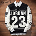 Fashion Mens Winter Hip Hop Hoodies Harajuku Patchwork Letter Jordan 23 Sweatshirts Printed  Black White 2 Colors Homme Hoody