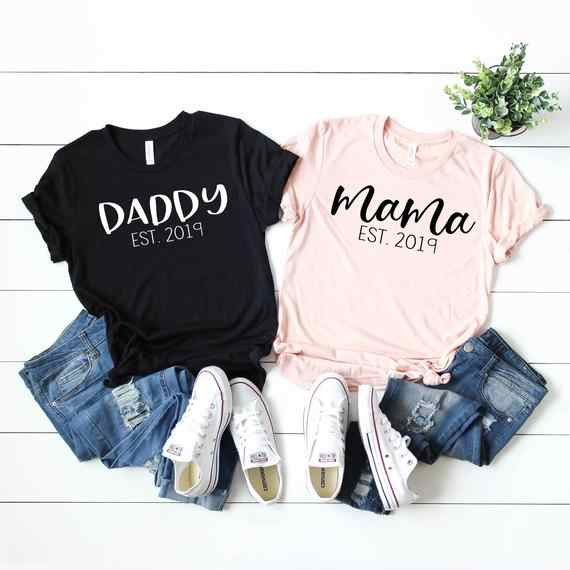 87aeabff PADDY DESIGN Mama Daddy T-shirt Mom and Dad Pregnancy Announcement Letter  Print Summer Women