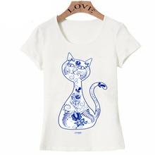New Harajuku Big Purple Tooth Ghost Cheshire cat design Women T-Shirt