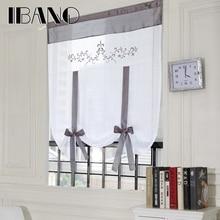 Римские занавески, занавески в европейском стиле с вышивкой, кухонные оконные шторы, занавески из вуали, занавески на верхнее окно, s Cortinas