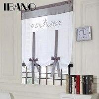 Römischen Vorhang Schatten Europäische Stickerei Stil Binden Fenster Vorhang Küche Vorhang Voile Schiere Tab Top Fenster Vorhänge Cortinas