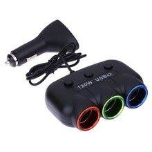 120W 3 Ways Auto Socket Splitter Car Cigarette Lighter Socket Splitter 12V/24V DC Dual USB Port Car Charger Power Adapter E#A