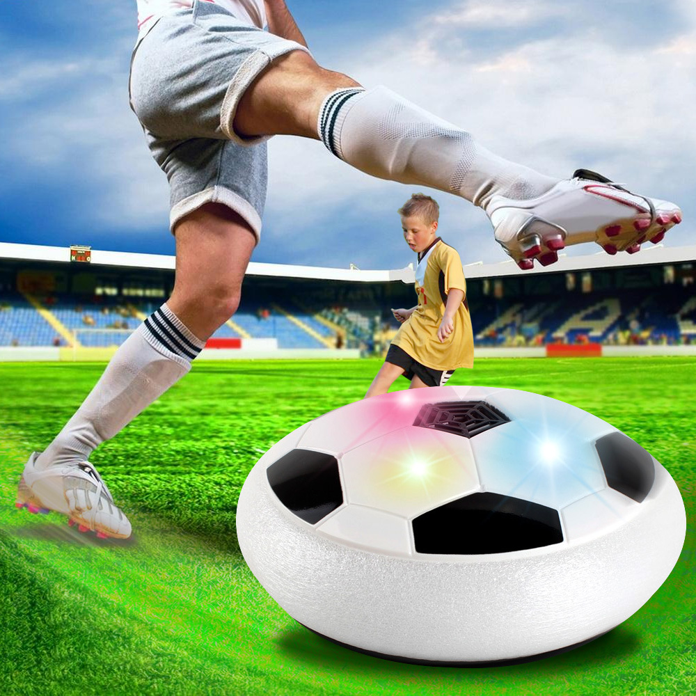 Divertido LED de luz bola intermitente juguetes Air Power balones de fútbol disco deslizante Multi-superficie Hovering Football Game Toy Kid Chidren regalo
