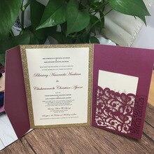 레이저 커팅 트라이 폴드 결혼식 초대 카드 럭셔리 burgendy 와인 레드 진주 종이 초대장 디자인 맞춤