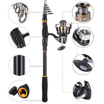 Goture Fishing Reel And Rod Combo 2.1M-3.6M Telescopic Fishing Rod and 7BB 2000-4000 Spinning Reel Fishing Coil Reel Rod Set