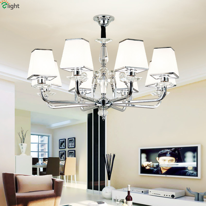 Modern Lustre Crystal Led Chandelier Fixtures Chrome Metal
