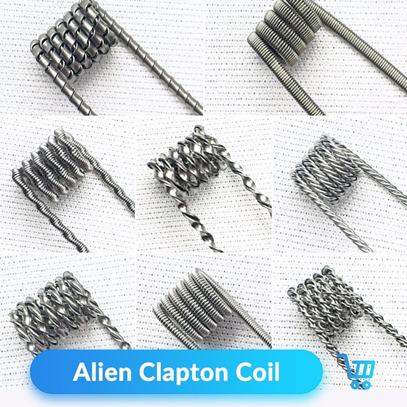 Volcanee 10pcs Alien Clapton Coil Flat Twisted Fused Clapton Quad Tiger Heating Wire E Cig for RTA Atomizer DIY Vape Accessories volcanee v2 rta single