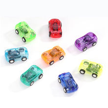 3pcs Baby Cartoon Small Toy Transparent mini back-force car toys for children Plastic Mini Car funny Small car model Toys(China)