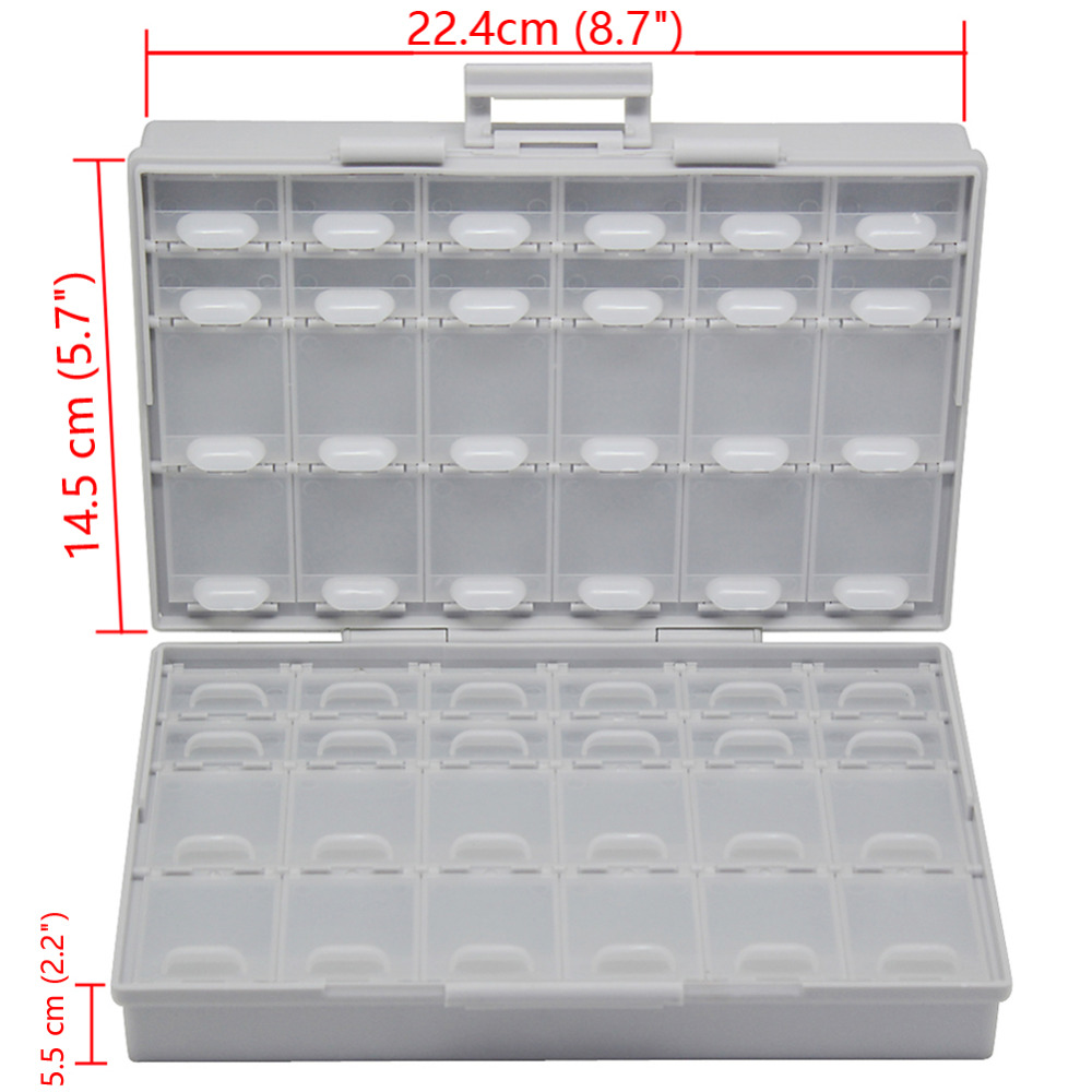 AideTek BOXALL48 lids empty enclosure SMD SMT organizer surface mount empty plastic part box lables UK DE US ship BOXALL48 aidetek 2 box esd safe smd ic box w 144 bins anti statics smd smt organizer transistor diode plastic part box lable 2boxallas