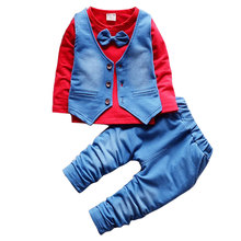2018 Fashion Baby Boy Clothes Sets Gentleman Suit Toddler Boys Clothing Set Long Sleeve Kids Boy Clothing Set Birthday Outfits