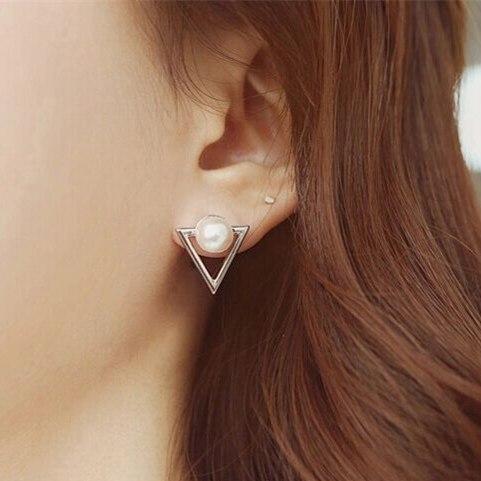 Hot Fashion Nickel Free Pearl Triangle Stud Earrings Fashion Jewelry  3