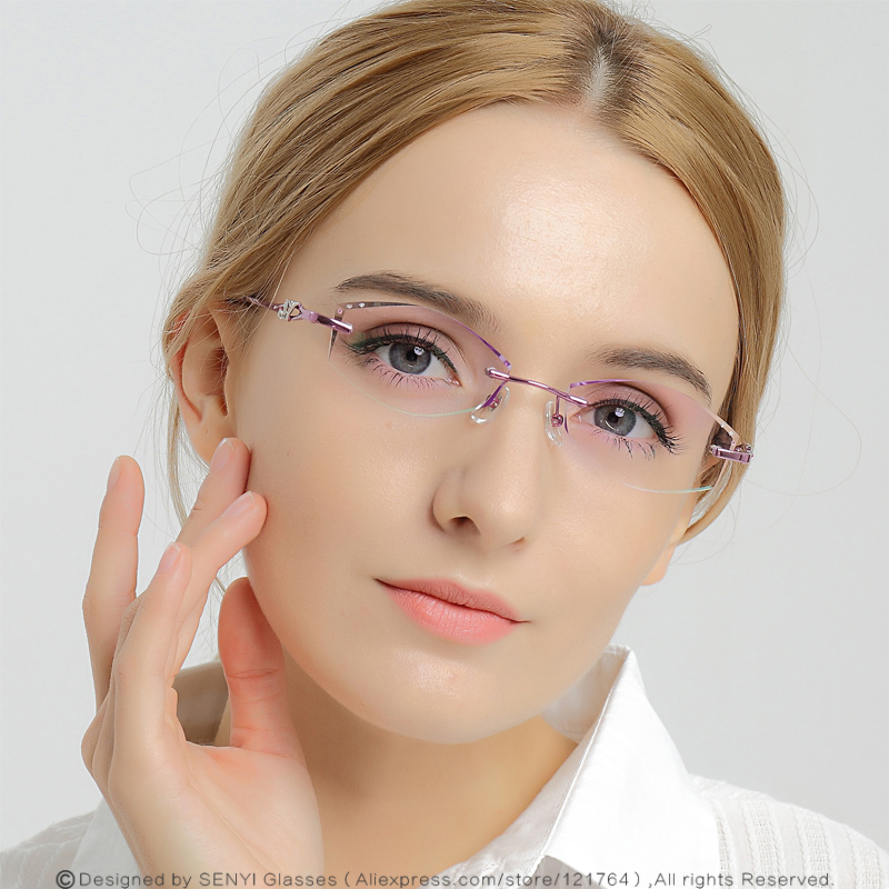 DUBERY Elegant Rhinestone Eyeglass Frames For Women Prescription Glasses