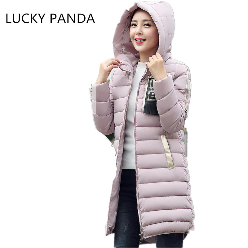 LUCKY PANDA 2016 WOMAN new winter coat in the long thin thick hat cotton padded jacket size LKB173 sky blue cloud removable hat in the long section of cotton clothing 2017 winter new woman