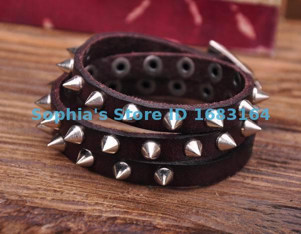 G119 Brown Rock R&B Sharp Studs Triple Wrap Leather Wristband Bracelet Cuff Mens
