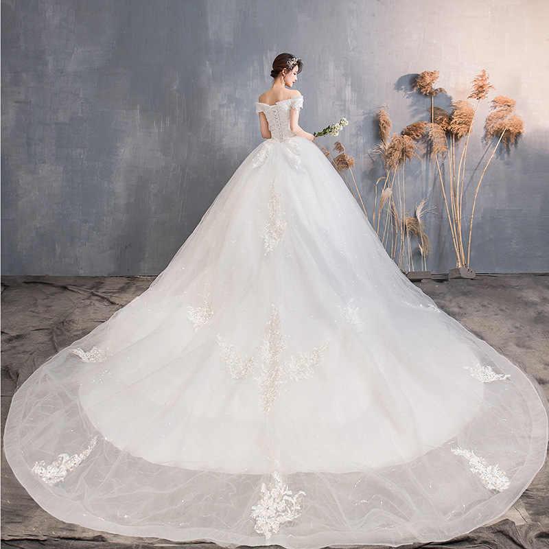Al largo Della Spalla Elegante Abiti Da Sposa Abito Da Sposa In Pizzo Floreale Bianco Abiti Da Sposa Royal Train Abito di Sfera Vestido De noiva