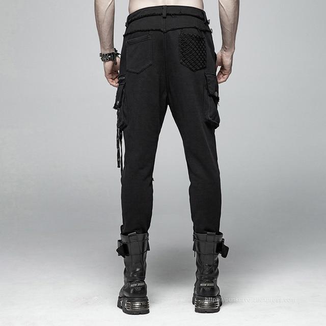 PUNK RAVE Men's Punk Rock Black Knit Trousers Gothic Military Casual Big Pocket Long Punk Cross Visual Kei Men Pants Streetwear 3