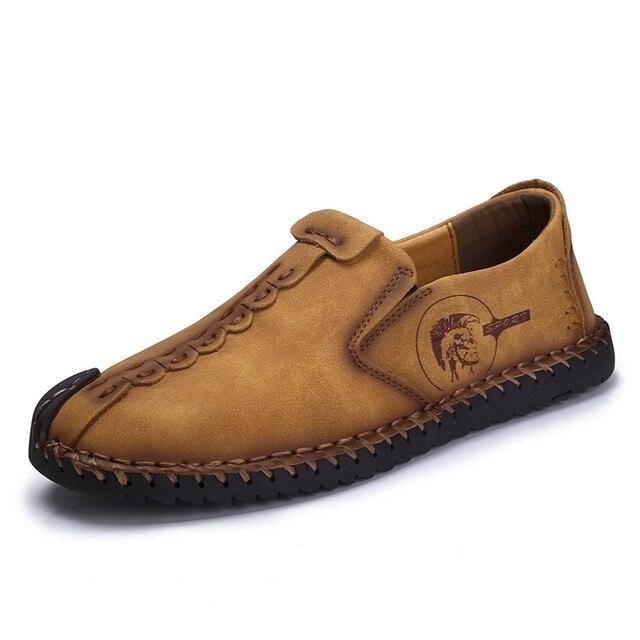 Hecho a mano de Los Hombres Casual Zapatos de Cuero Respirables Mocasines Se Deslizan En Marca de Alta Calidad