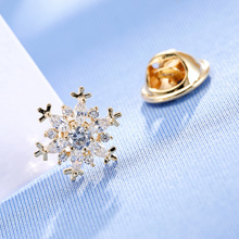 Fashion Zircon Snowflake Small Brooch Trendy Collar Pins for Women and Men Clothing Jewelry Gift