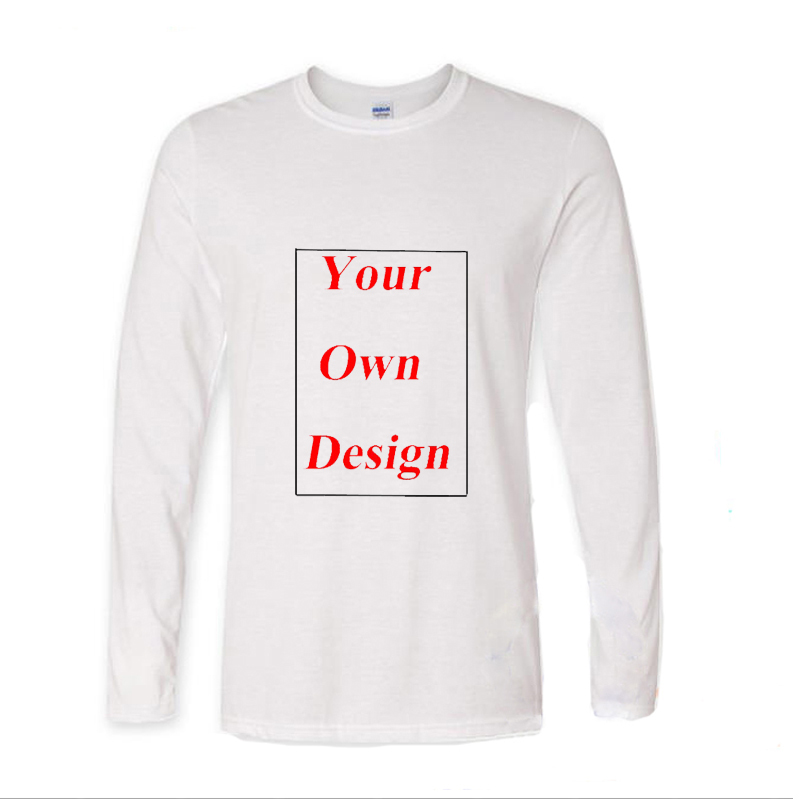 Fashion Cotton Tops Long Sleeve Tshirt Men Clothes Customized Your Own Design Any Picture Printed Male Funny T Shirt Men