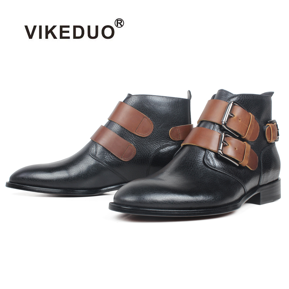 VIKEDUO New Black Boots Men Genuine Cow Leather Buckle Ankle Boots Male Handmade Round Toe Winter Shoes For Men Zapato De Hombre