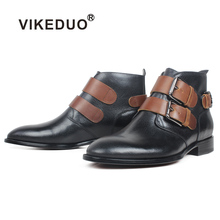 VIKEDUO New Black Boots Men Genuine Cow Leather Buckle Ankle Male Handmade Round Toe Winter Shoes For Zapato de Hombre