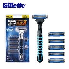 100% Original Gillette Vector 3 Razor For Men (1 holder + 6 blade) Manual Shaving Vector3 Shaver
