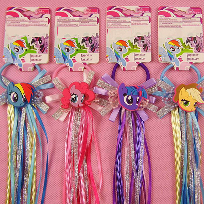 Lovely Cartoon Elastic Hair Ropes with Cute Unicorn Ribbon Hair Tie Kids Girls Rubber Ties Hair Accessories with Wig Decoration 12pc set elastic hair rubber band children hair unicorn headband kids hair accessories gril hair band set cute unicorn cartoon