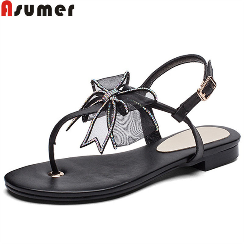 ASUMER 2019 new summer sandals for women buckle casual genuine leather shoes women butterfly knot leisure women sandals ASUMER 2019 new summer sandals for women buckle casual genuine leather shoes women butterfly knot leisure women sandals