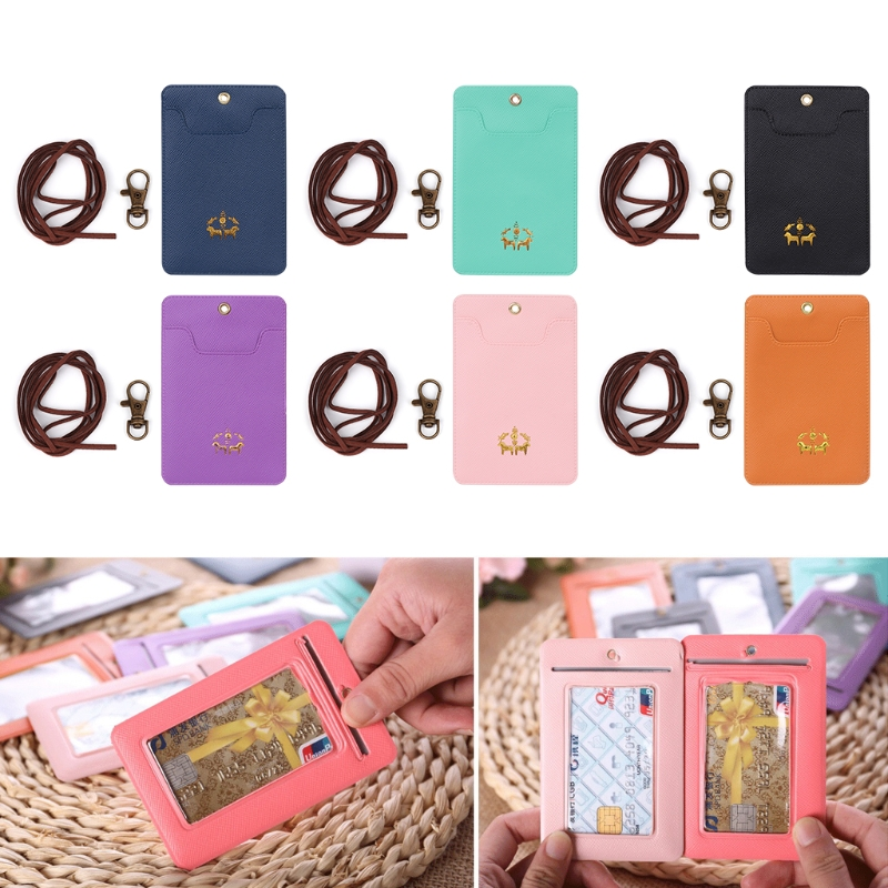 Cute Faux leather+Metal Credit Card Holder Keyring Key Chain Sleeve Set Bus Card Case Bag Birthday Cartoon Characters Gifts