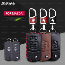 цена на Genuine Leather Car Remote Key Shell Cover Bag Protect Key Case For Mazda 2 3 5 6 CX5 CX-5 M2 M3 M5 M6 Smart 2/3 Buttons