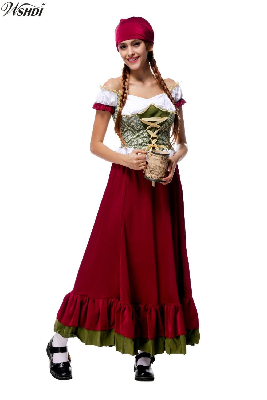Sexy Women Oktoberfest Peasant Maid Costume Octoberfest Bavarian Party Adult Female Oktoberfest Maiden Dirndl Long Dress