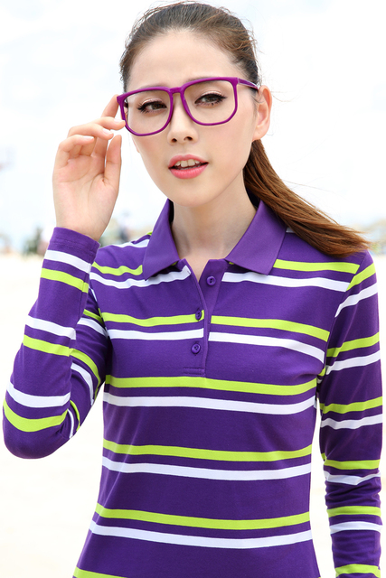 camiseta polo feminina autumn new college wind polos contrast color lapel stripe loose lapel long sleeve women polo shirt female