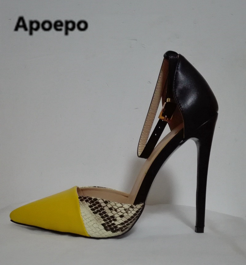 Apoepo women shoes sexy high heels pumps Serpentine mixed colors pointed toe sandals femininas moda 2018 feminina dress shoes nes mixed colors serpentine sexy women high heels ankle hook loop pointed toe stiletto pumps ladies banquet party shoes woman