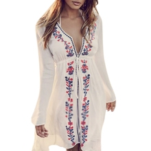 Women Beach Wear Bikini  V-Neck Dress Embroidery Vintage Boho Swimsuit