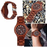 Hot Sale Classic Mens Red Sandalwood Watch Quartz Top Luxury Brand Hight Quality Wooden Watches Men