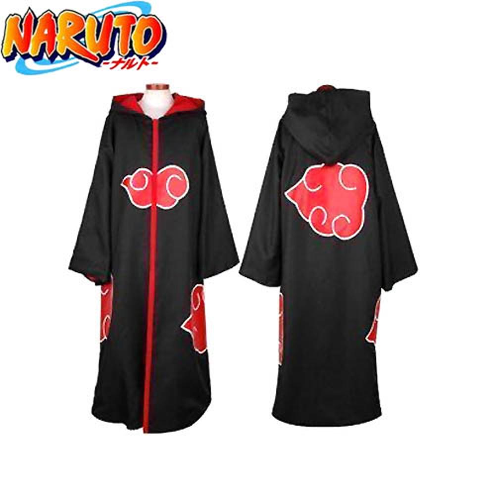 Anime Naruto Costume Akatsuki Organization Members Cloak Ninja Uniform Sasuke Robe Hooded Halloween Party Cosplay Costume