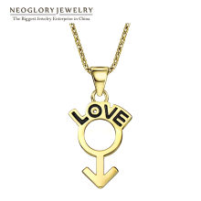 Neoglory Light Yellow Gold Color Female Love Long Chain Necklaces&Pendants For Women 2018 New Brand Gifts H1 QC4(China)