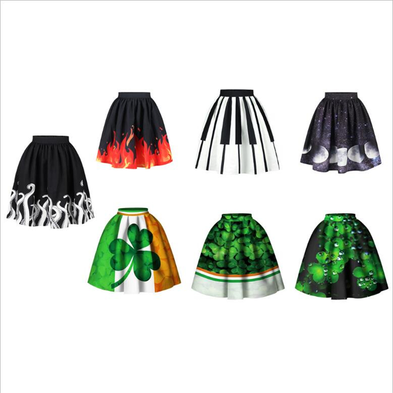 Vintage Fashion Women A-Line Skirt British Style Tartan Umbrella Skirts