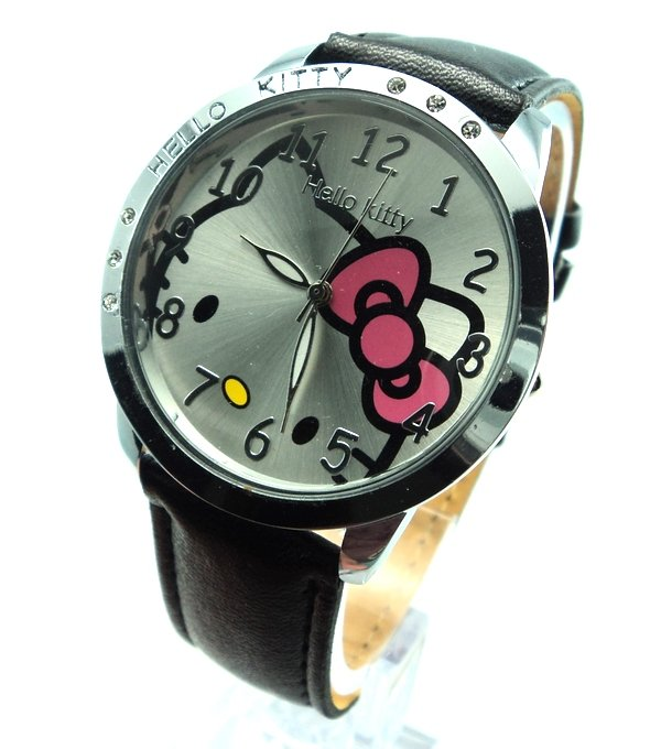 Fashion Brand Hello Kitty Quartz Watch Children Girl Women Leather Crystal Wrist Watch Kids Wristwatch Cut Lovely Clock E3570 hello kitty clock women dress watch hello kitty cartoon watches stainless steel watch women rhinestone watches kids