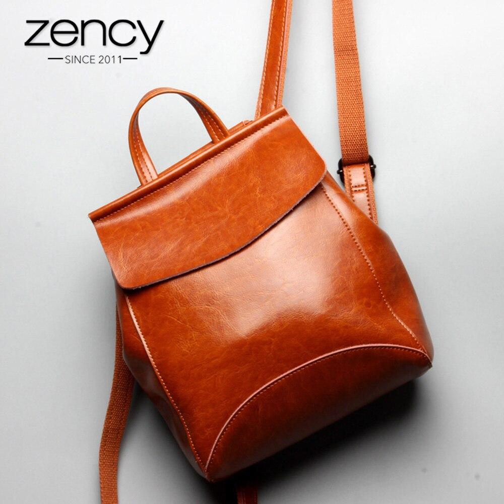 Zency 100% Echt Leer Vrouwen Rugzak Mode Bruin Dagelijks Casual Knapzak Preppy Stijl Notebook Schooltas Voor Meisje Reistas-in Rugzakken van Bagage & Tassen op  Groep 1