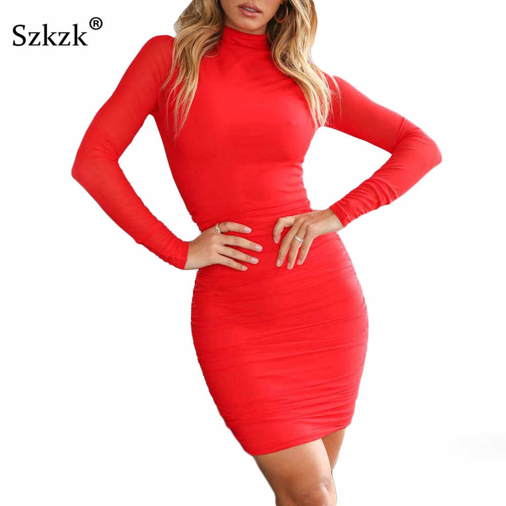 f9375d4ee9e Szkzk Ruched White Black Red Dress Women Clothes Winter Turtleneck Long  Sleeve Dress Spring Casual Bodycon