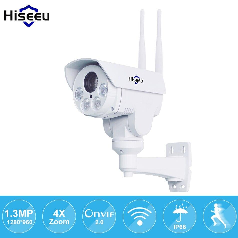 IP Камера Wi-Fi PTZ пуля 4x зум 960 P IP Скорость купол проекта Ночное видение открытый Водонепроницаемый IP66 IRCUT ONVIF P2P hiseeu