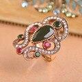 Mulheres Anéis Jóias Turco Big Rhinestone Collares Mujer Aneis Anéis de Resina Anel de Ouro Acrílico Vermelho Turco Jóias Anel Anillo
