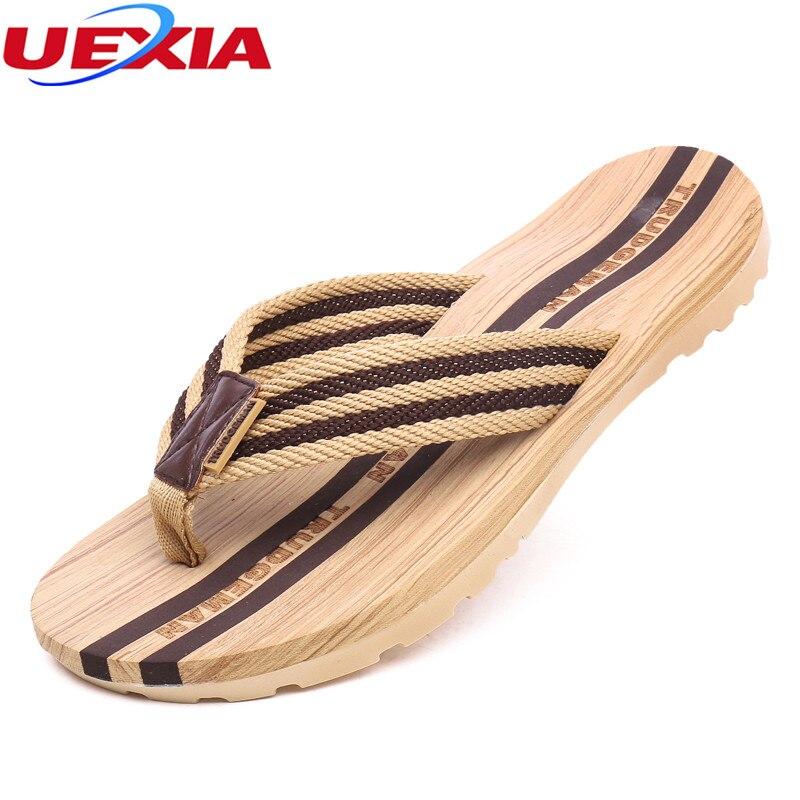UEXIA Merek Hot Jual Sandal Musim Panas Pria Keren Flat Sandal Jepit Pantai Kasual Laki-laki Sandal Luar Mode Sepatu Datar Non-Slip Rose Gold