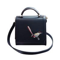 ARESLAND Embroidery Women Messenger Bag Bird Pattern Hangbag Simple Fasghion Female Single Shoulder Crossbody Bag Black