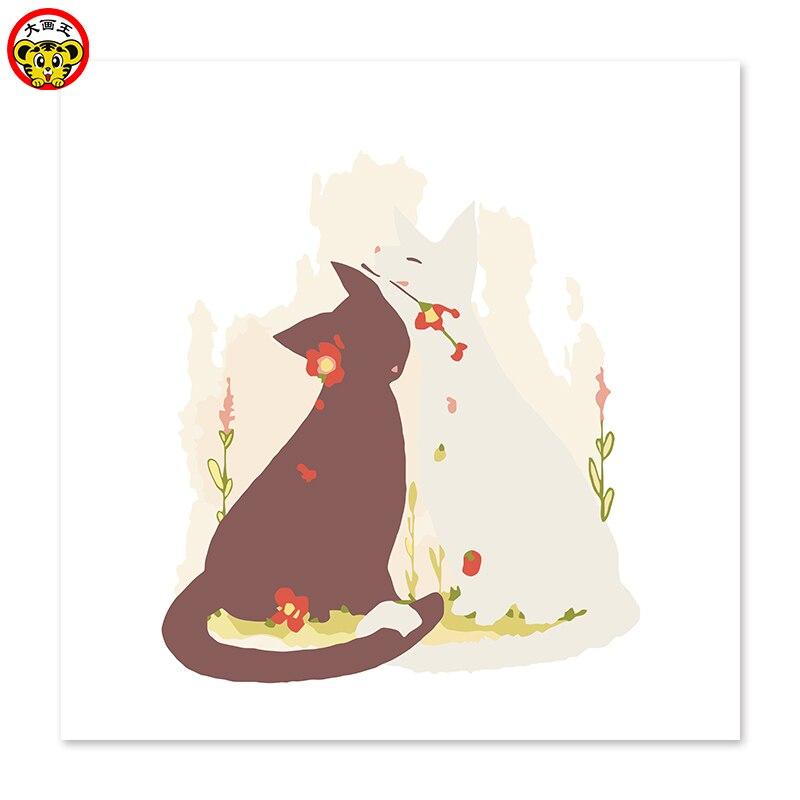 Цифровая живопись маслом пара кошек показать любовь Белый Кот Черный кот любовь друг с другом